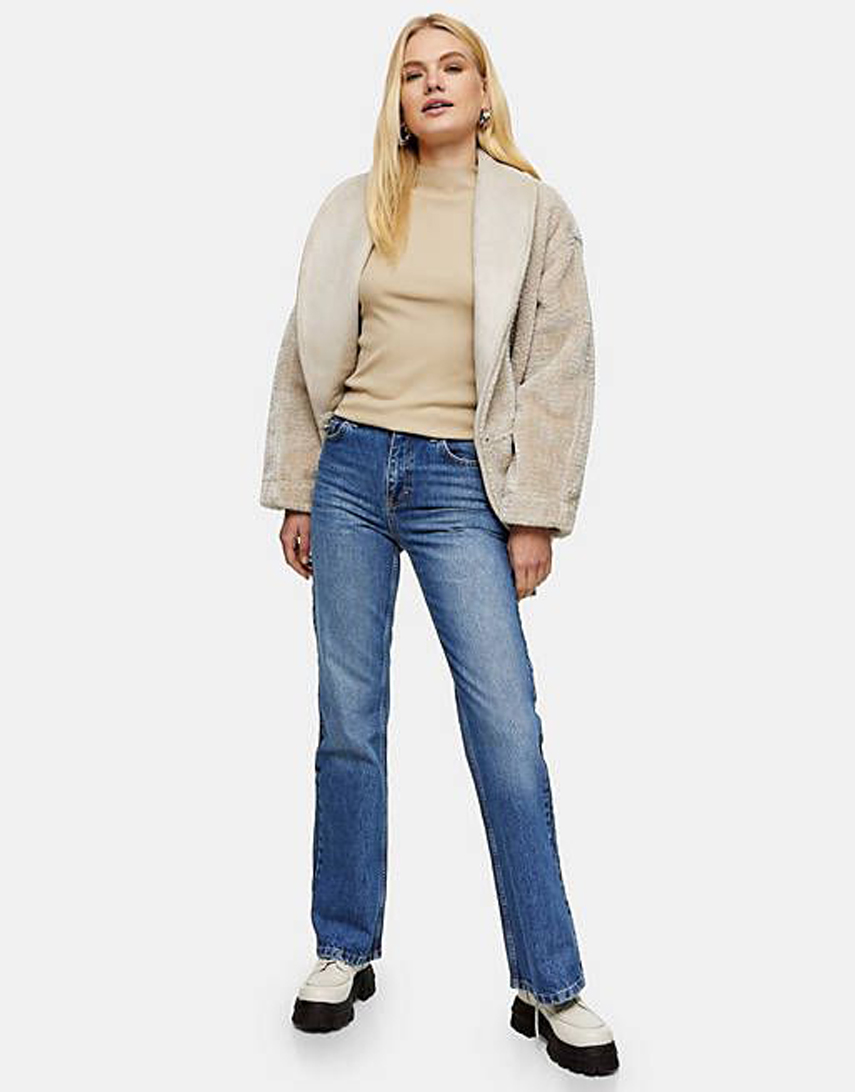 Topshop 90s flare jeans in mid blue