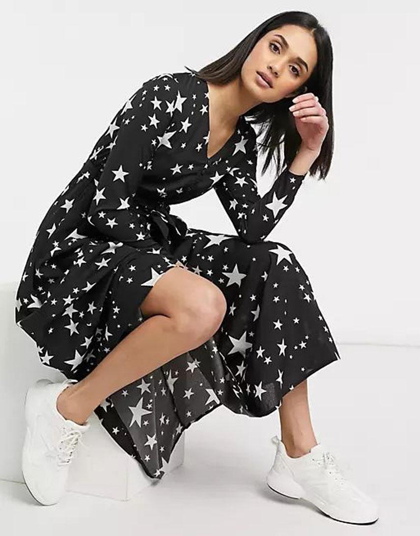 Urban Threads button front tie waist midi dress in star print