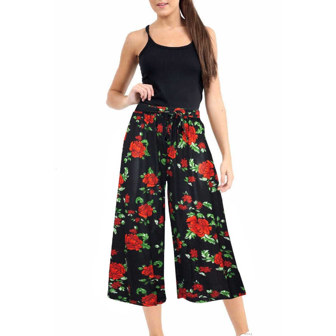Womens Ladies Floral Printed Trouser Wide Leg Baggy Flared Pant Leggings Palazzo