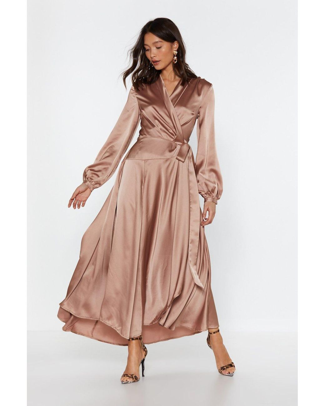 Women's Pink Satin Long Sleeve Maxi Wrap Dress