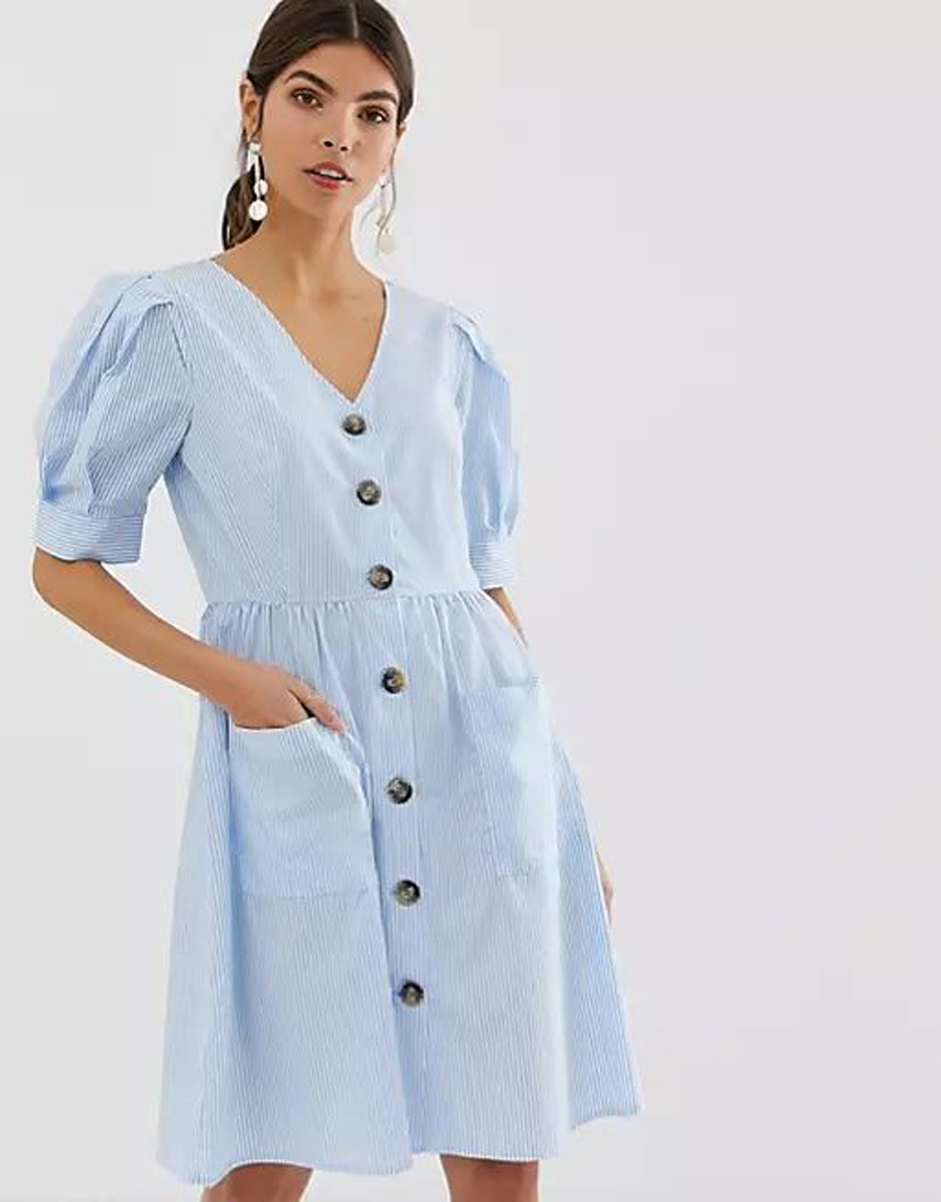 Y.A.S button down organic cotton smock dress with volume sleeve