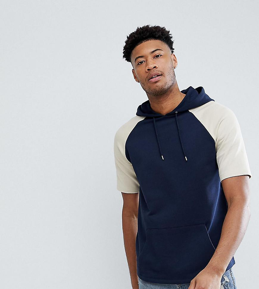short sleeve hoodie and navy jeans