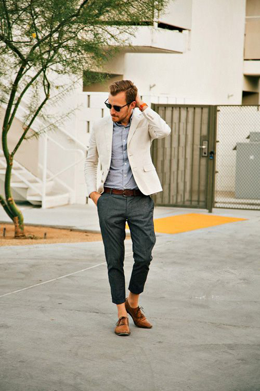 men's Cropped Trousers with Blazer