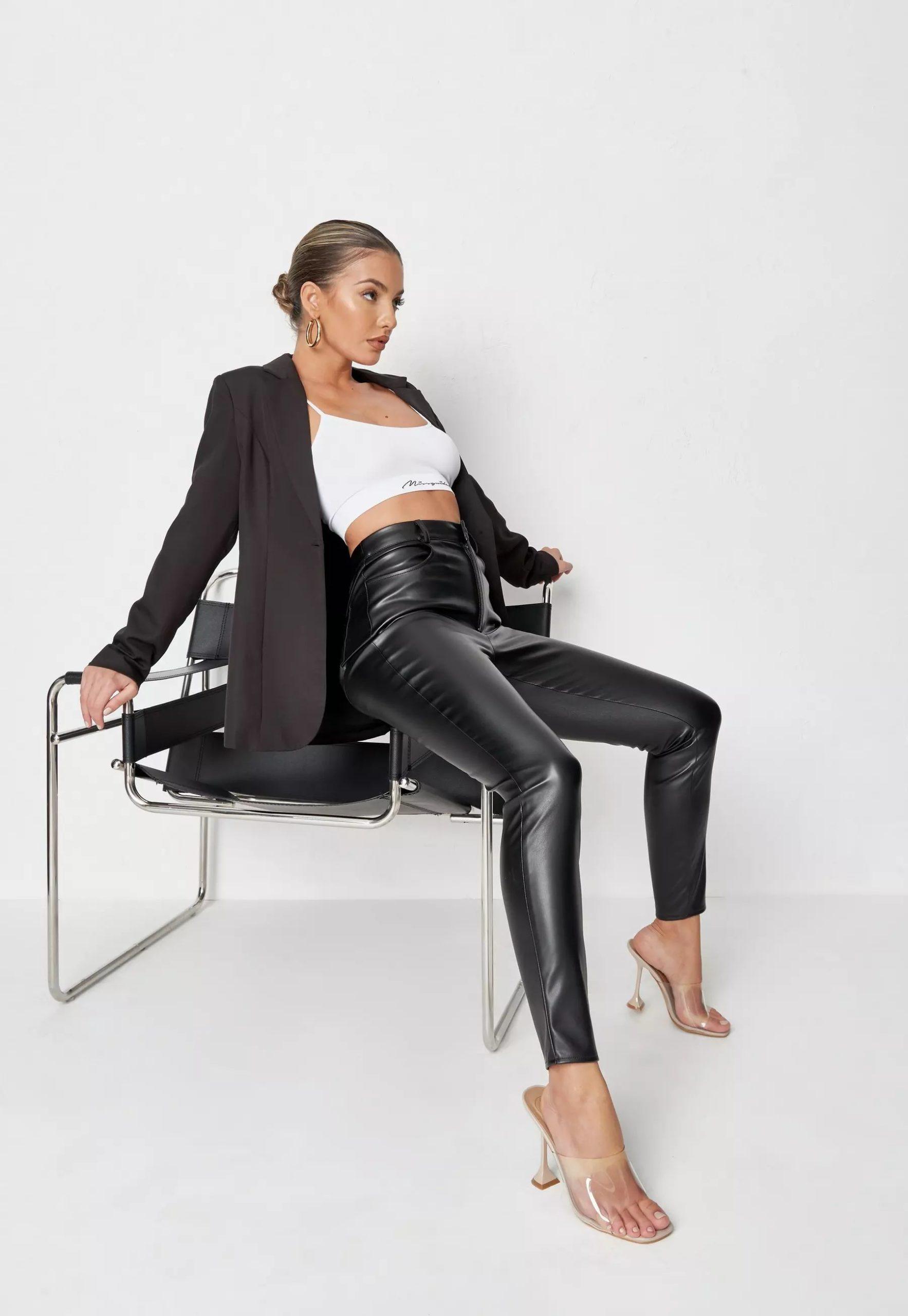 black faux leather slim leg trousers