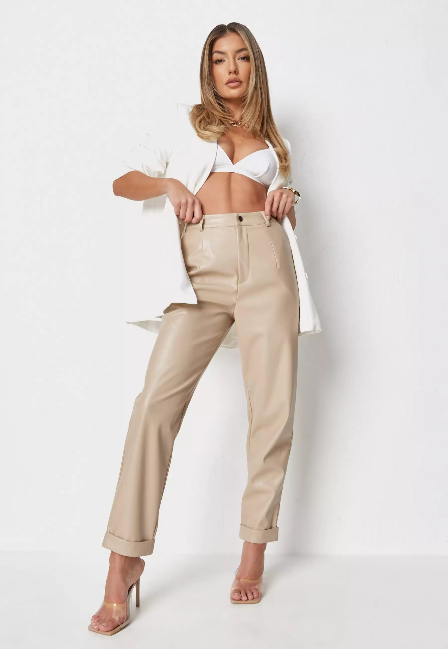 camel faux leather turn up cigarette trousers