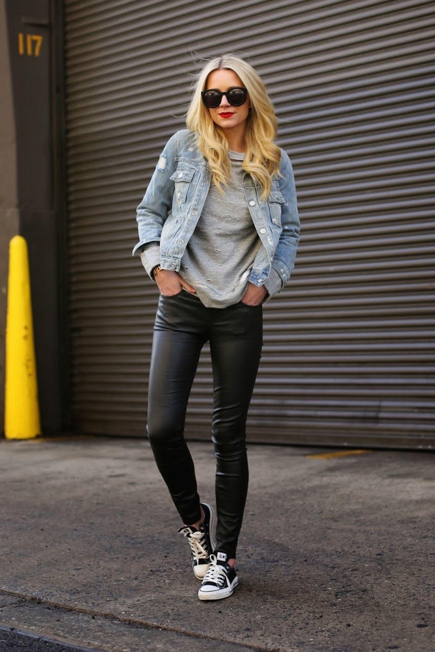 Women Leather Pants with Denim Jacket