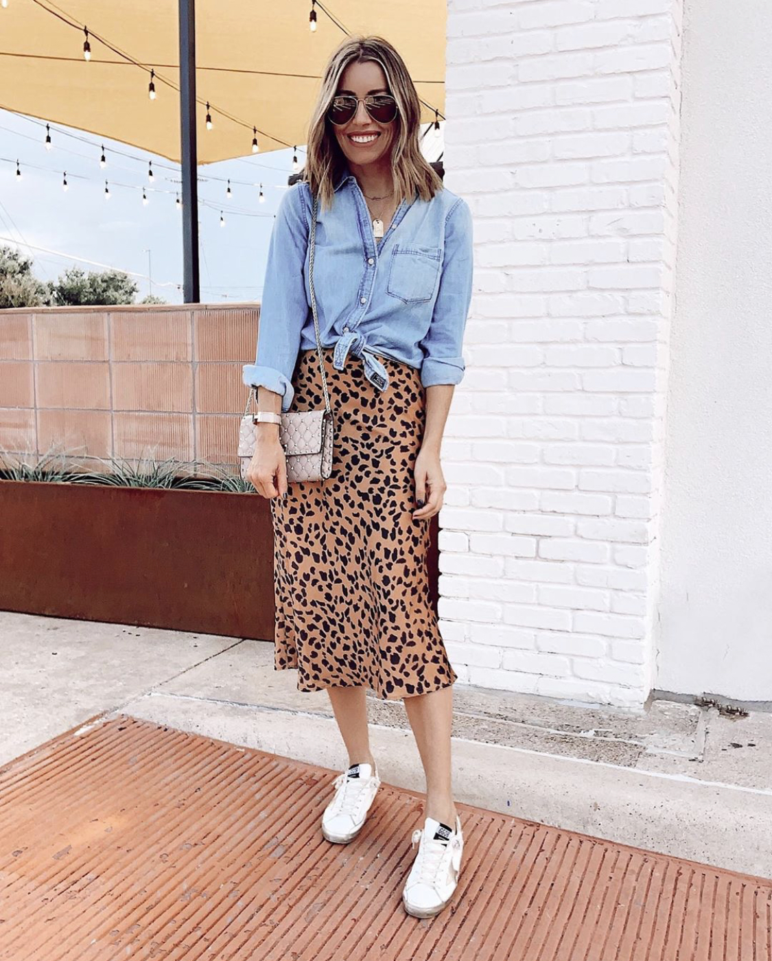 slip skirt with a front-tie shirt