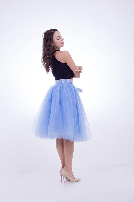 kephy Women's Tulle Skirt 7 Layers Tutus for Women A Line Knee Length Petticoat Wedding Party Adult Midi Skirt