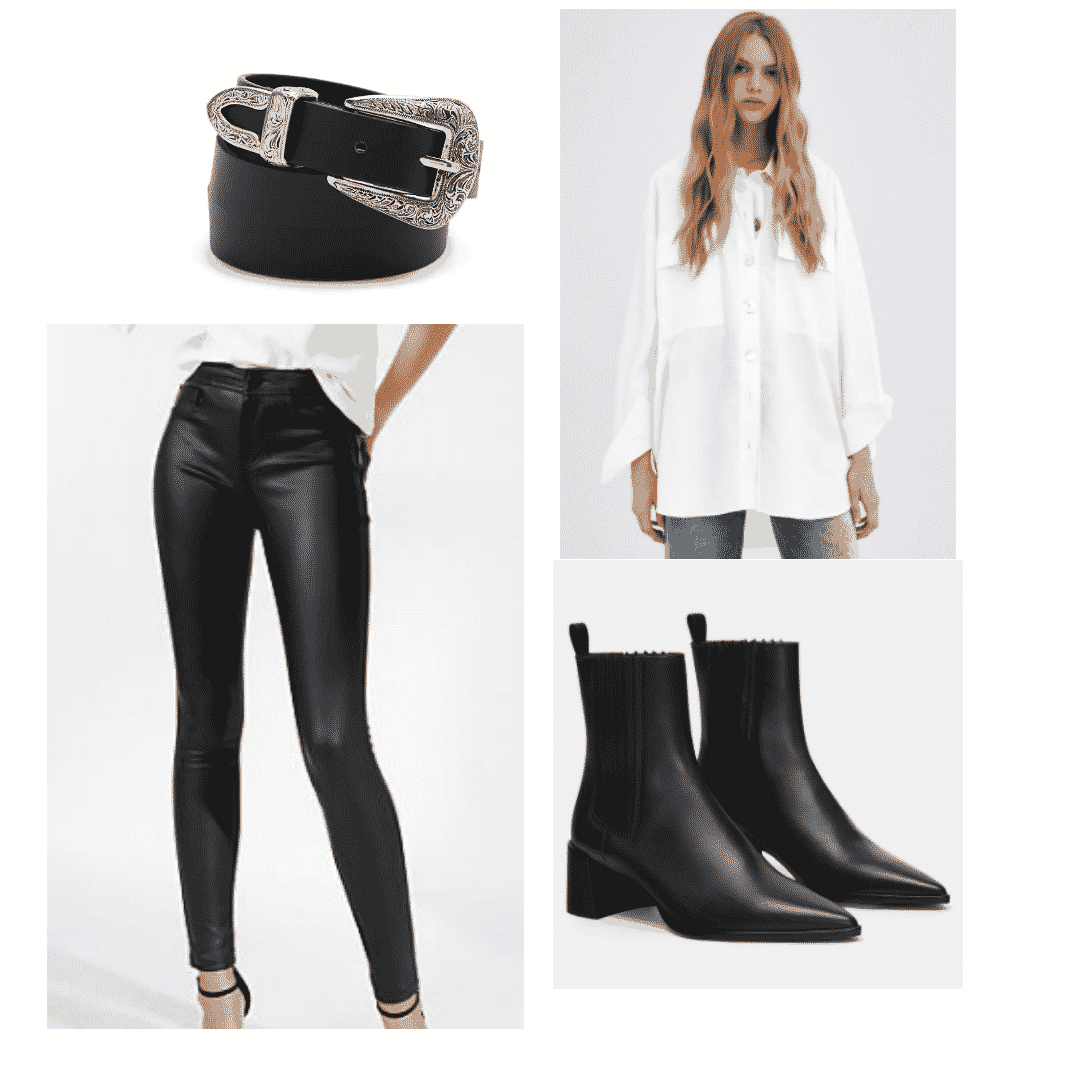 Women Leather Pants with White Blouse