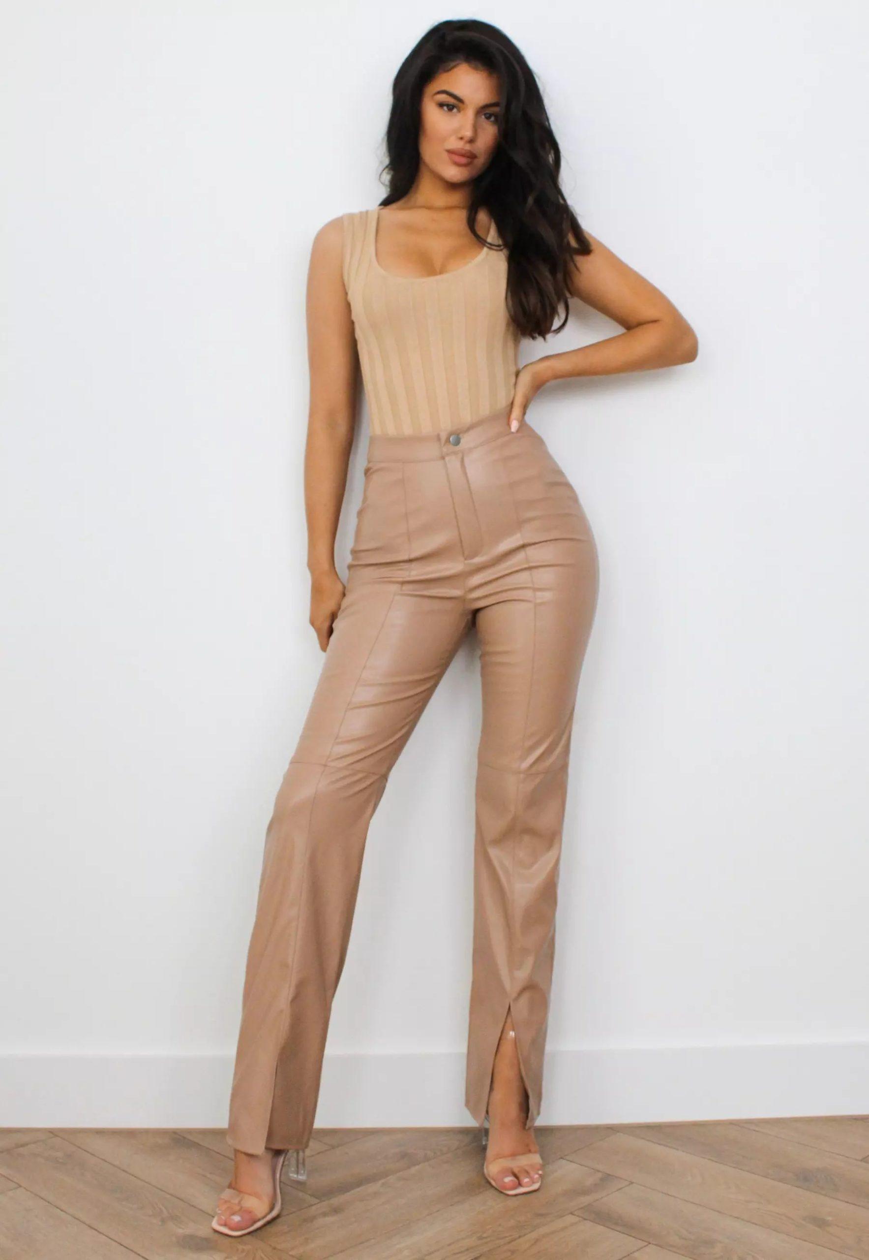mocha faux leather split front trousers