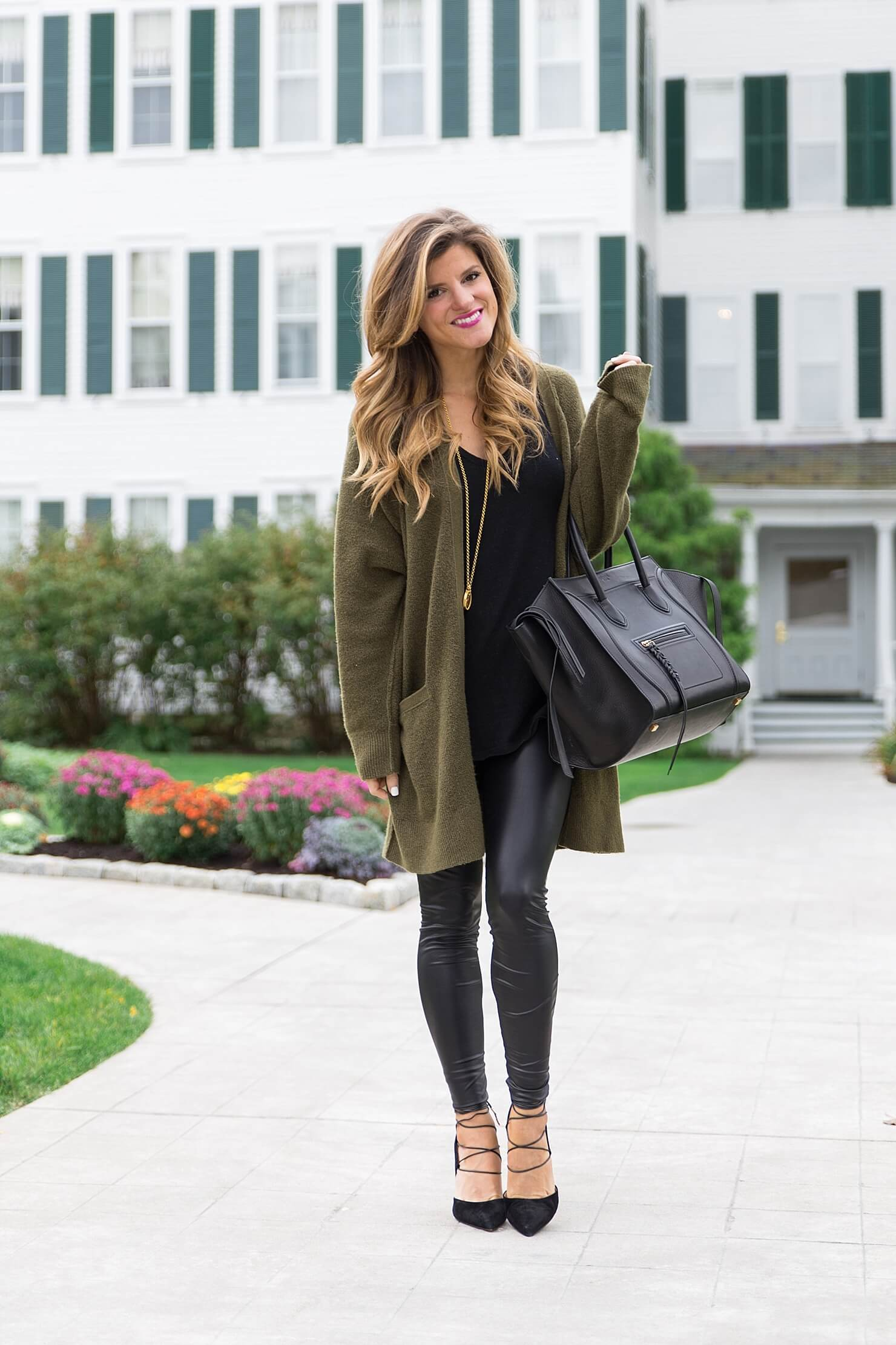Women Leather Pants with Long Cardigan