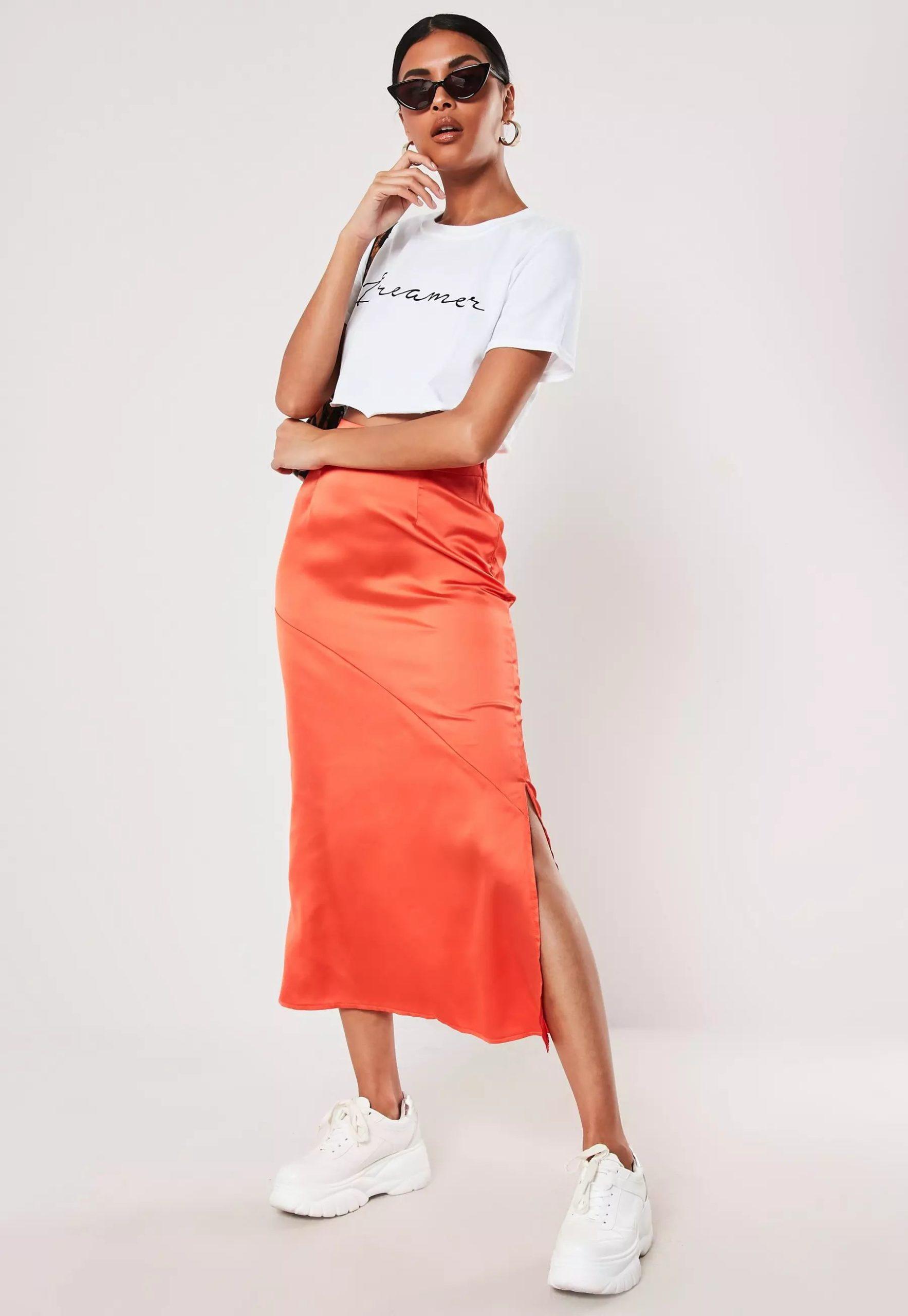 orange satin bias cut midi slip skirt