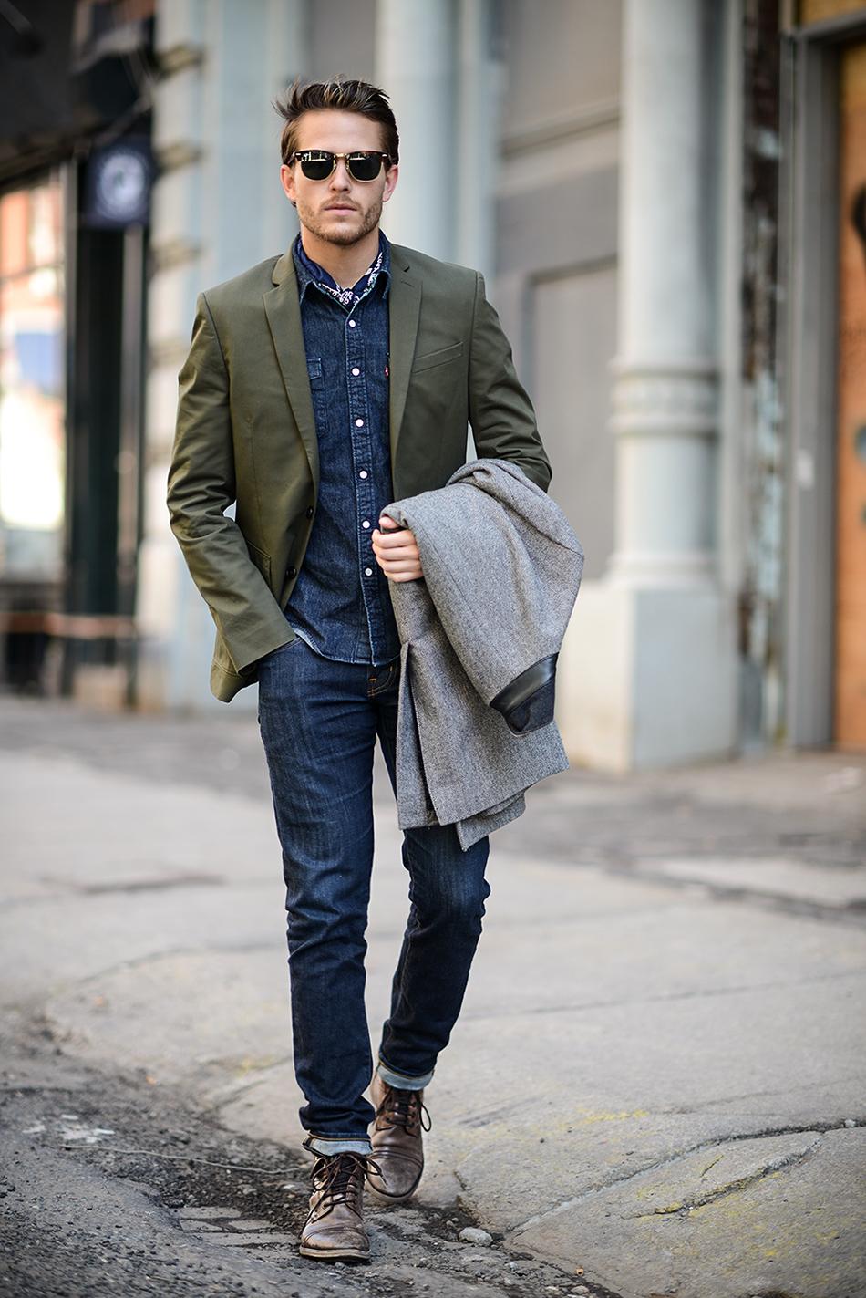 Stretch denim shirt with a blazer