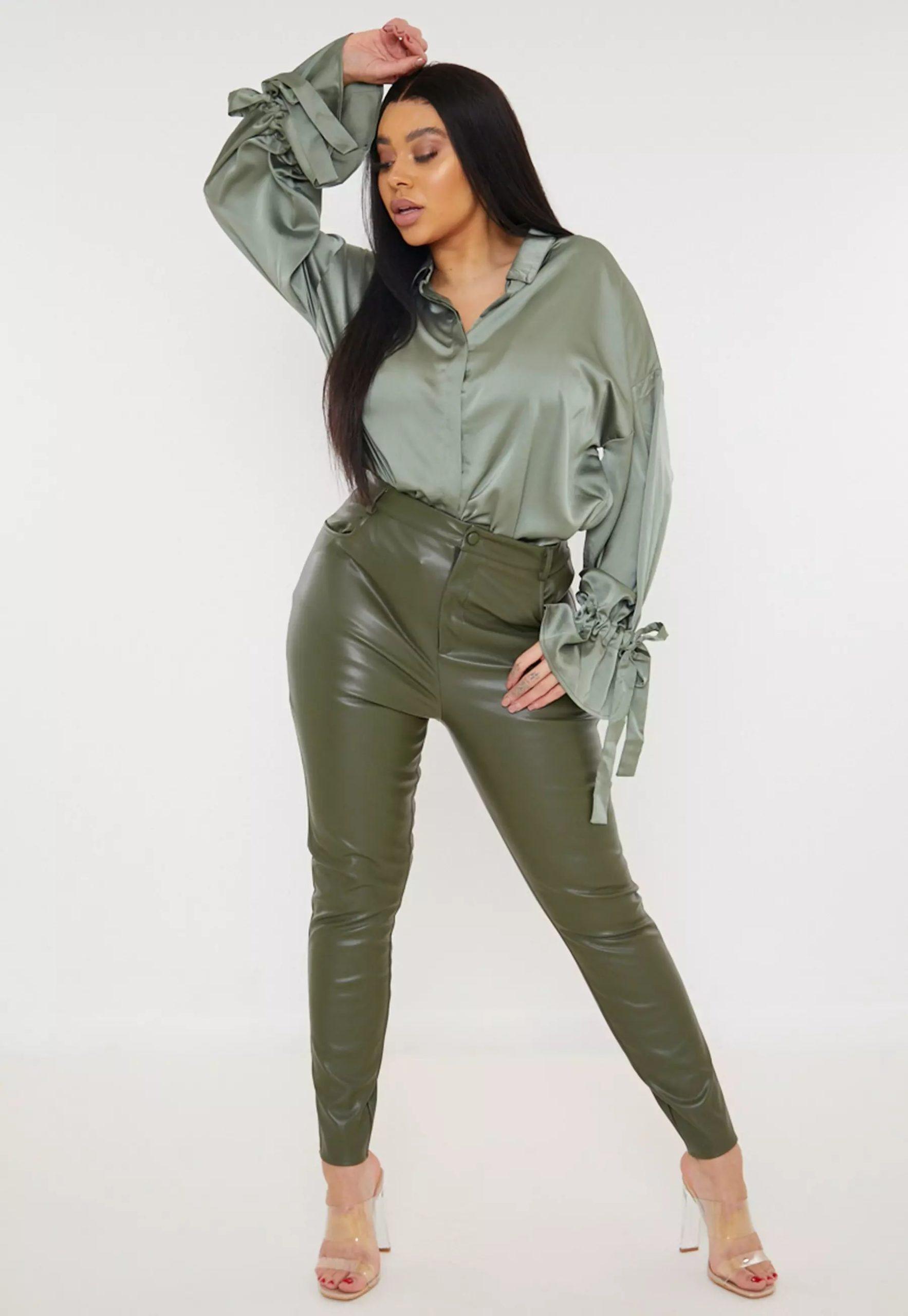 plus size khaki faux leather slim leg trousers