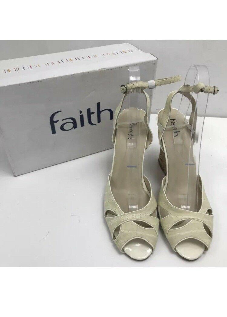 *BNIB* FAITH Women's Beige Wedged Peep Toe Sandal Shoes Size UK 7 | EU 40 | US 9