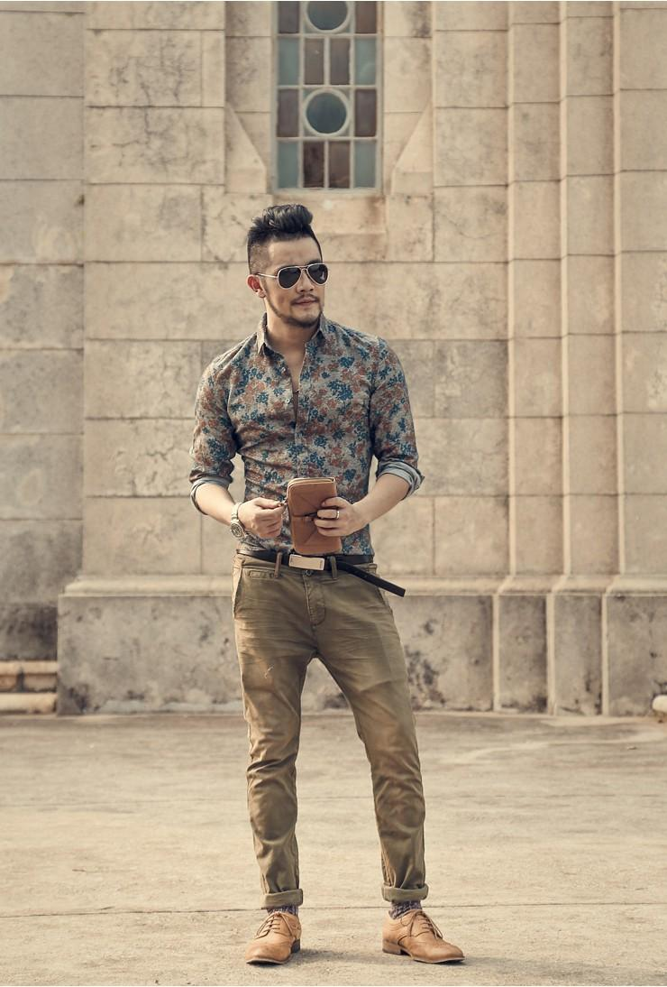 Men's Long Sleeve Floral Shirt with cargo pants
